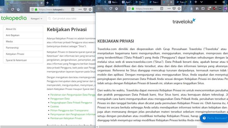 Halaman kebijakan privasi di situs Tokopedia dan Traveloka