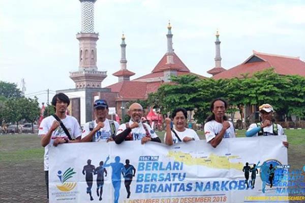 Empat pelari saat tiba di Bogor 28 Desember 2018. Foto: Instagram Gatot Sudariyono