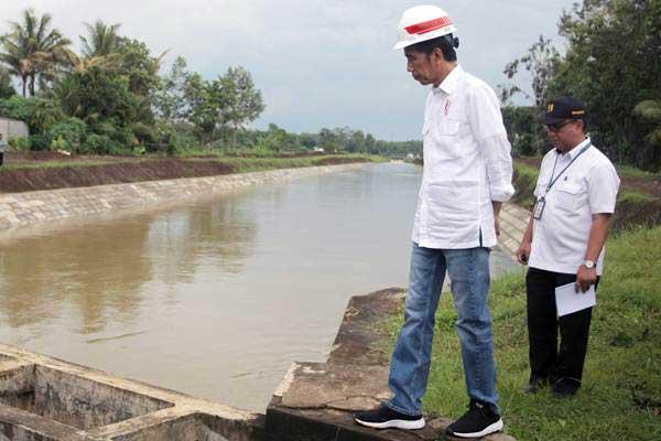 Presiden Joko Widodo meninjau salah satu lokasi rehabilitasi irigasi di Sungai Lodoyo, Blitar, Jawa Timur, Kamis (3/1/2019). - ANTARA/Irfan Anshori