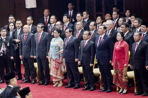 Menteri Kabinet Kerja menghadiri Sidang Tahunan MPR RI Tahun 2017 di Kompleks Parlemen, Senayan, Jakarta, Rabu (16/8). - ANTARA/M Agung Rajasa