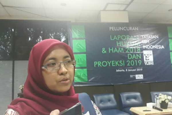 Ketua Bidang Manajemen Pengetahuan YLBHI Siti Rakhma Mary Herwati. (ANTARA - Dyah Dwi)