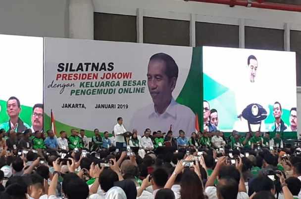 Presiden Joko Widodo bertemu dengan driver ojek online - Bisnis.com/Amanda