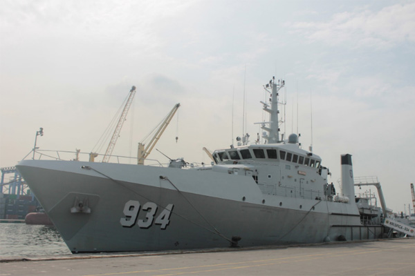 KRI Spica berangkat dari Dermaga JICT Tanjung Priok 8 Januari 2019 untuk memulai misi pencarian VCR (voice cockpit Recorder) Lion Air PK/LQP yang jatuh di perairan itu 29 Oktober 2018. Foto: KNKT