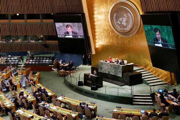 Wakil Presiden Jusuf Kalla menyampaikan pernyataan Indonesia di sesi Debat Umum Sidang Majelis Umum PBB ke-73 di Markas Besar PBB, New York, Kamis (27/9 - 2018).ANTARA/Aditya E.S.Wicaksono
