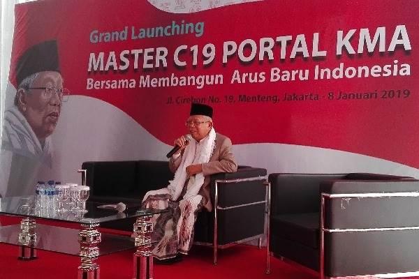 KH. Ma'ruf Amin saat peluncuran portal KMA - Bisnis