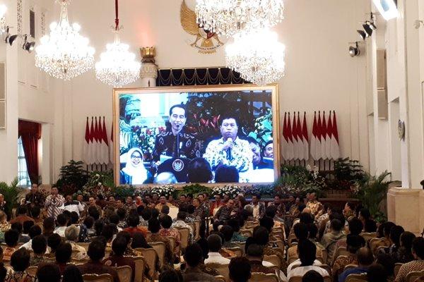 Presiden Joko Widodo memberikan sambutan dalam Silaturahmi Presiden RI dengan perwakilan Nelayan Seluruh Indonesia di Istana Negara, Selasa (22/1/2019), (Amanda Kusumawardhani - Bisnis).