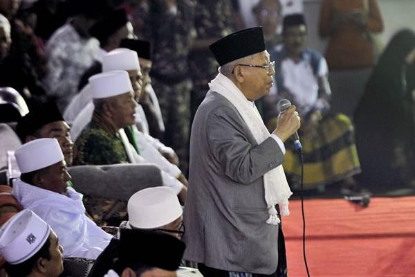 Calon Wakil Presiden nomor urut 01 Ma'ruf Amin berpidato  - ANTARA/Asep Fathulrahman