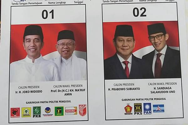 Spesimen surat suara Pemilu 2019. - Bisnis/Jaffry Prabu Prakoso