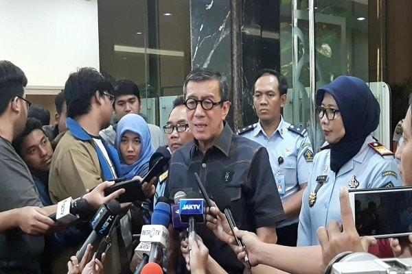 Menteri Hukum dan HAM Yasonna Laoly saat konferensi persi di Jakarta, Selasa (22/1/2019) - Bisnis Indonesia/Aziz Rahardyan