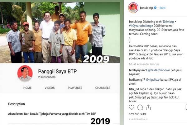 Akun Youtube Basuki Tjahaja Purnama atau Ahok 'Panggil Saya BTP' - Instagram @basukitbtp