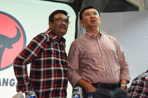 Djarot Saiful Hidayat (kiri) dan Basuki Tjahaja Purnama. - Antara/Hafidz Mubarak