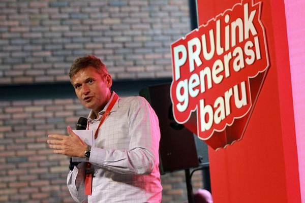 Presiden Direktur Prudential Indonesia Jens Reisch, memberikan sambutan saat peluncuran produk baru PRUlink generasi baru dan PRUlink syariah generasi baru di Jakarta, Kamis (20/9/2018). - JIBI/Dwi Prasetya