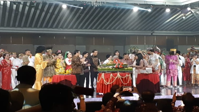 Peringatan ulang tahun Ketua Umum PDI Perjuangan Megawati Soekarnoputri dihadiri Presiden Jokowi dan Wapres Jsuuf Kalla - Bisnis/Amanda K. Wardhani