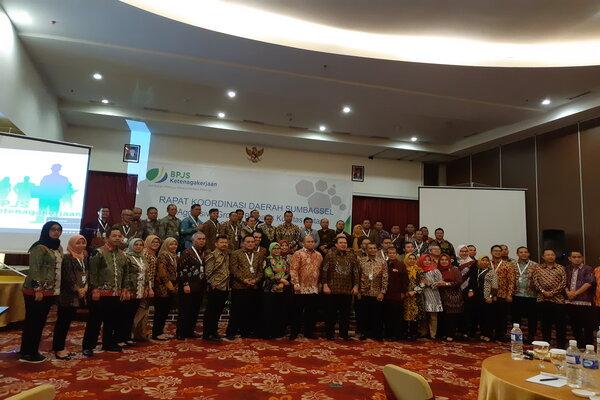 Rapat koordinasi daerah BPJS Ketenagakerjaan Wilayah Sumbagsel, Kamis (24/1/2019). - Bisnis/Dinda Wulandari