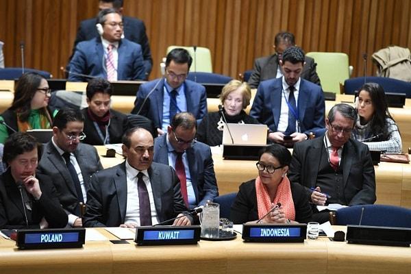 Menteri Luar Negeri Retno Marsudi saat menjadi pembicara kunci di forum DK PBB - Dok. Kemlu RI