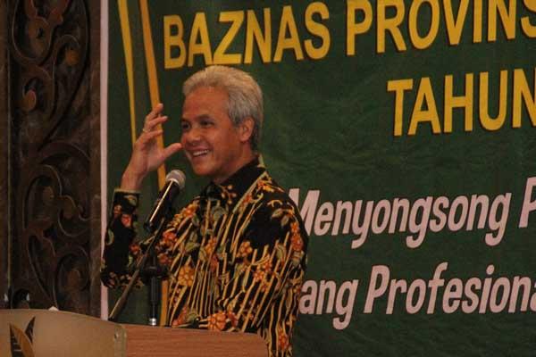 Gubernur Jawa Tengah Ganjar Pranowo saat memberikan paparan