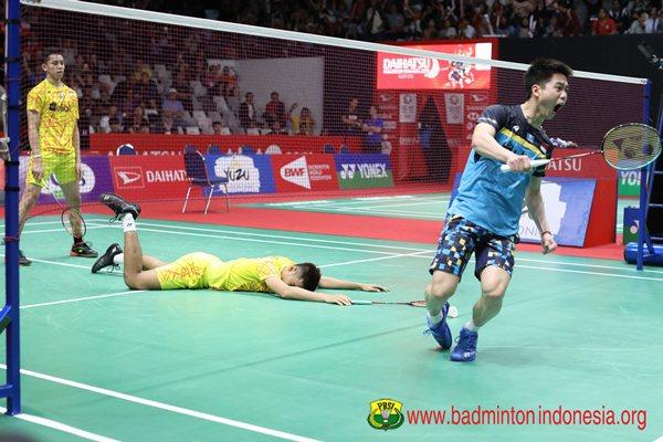 Fajar Alfian-Muhammad Rian Ardianto (kiri) dan Kevin Sanjaya Sukamuljo - Badminton Indonesia