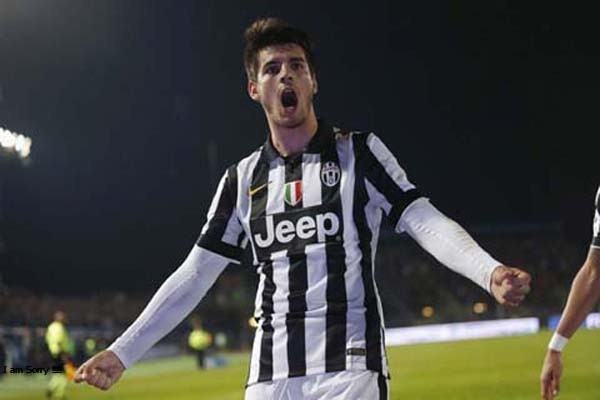 Alvaro Morata saat membela Juventus. - Reuters/Giampiero Sposito