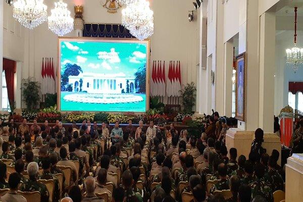 Presiden Joko Widodo menghadiri Rapat Pimpinan Tentara Nasional Indonesia (TNI) dan Kepolisian Negara Republik Indonesia (Polri) Tahun 2019 di Istana Negara, Selasa (29/1/2019). - Bisnis/Amanda Kusuma W.