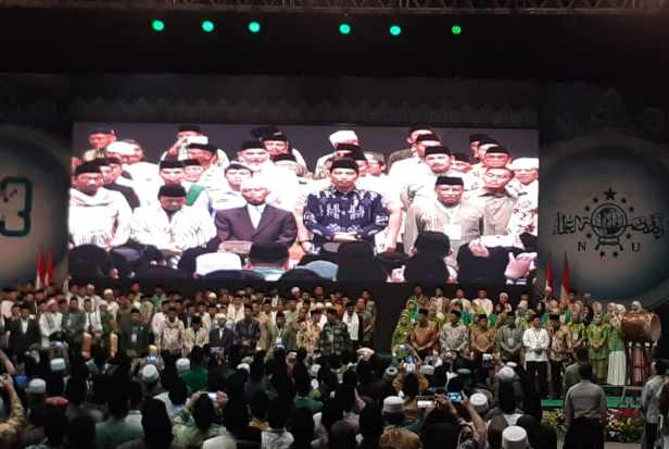 Presiden Joko Widodo menghadiri Pembukaan Konsolidasi Jelang Satu Abad Nahdlatul Ulama (NU) dalam rangka Harlah NU Ke-93 di Jakarta Convention Center, Kamis (31/1/2019). - Bisnis.com/Amanda