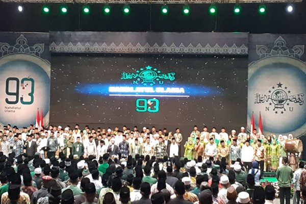 Presiden Joko Widodo mengingatkan massifnya perkembangan teknologi tidak ikut mengikis etika kebangsaan.  Hal tersebut dikemukakan Jokowi saat memberikan sambutan Pembukaan Konsolidasi Jelang Satu Abad Nahdlatul Ulama (NU) dalam rangka Harlah NU Ke-93 di Jakarta, Kamis (31/1/2019). (Amanda Kusumawardhani - Bisnis)