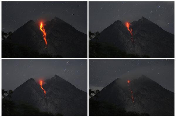 Foto kolase aliran lava pijar Gunung Merapi terlihat dari Balerante, Kemalang, Klaten, Jawa Tengah, Selasa (29/1/2019) malam. Berdasarkan data Balai Penyelidikan dan Pengembangan Teknologi Kebencanaan Geologi (BPPTKG) kembali terjadi luncuran lava pijar Gunung Merapi pada tanggal (29/1/2019) yakni yang teramati 11 kali ke arah Kali Gendol dan satu kali ke arah timur laut dengan jarak aliran 50 -1400 m. - Antara/Aloysius Jarot Nugroho