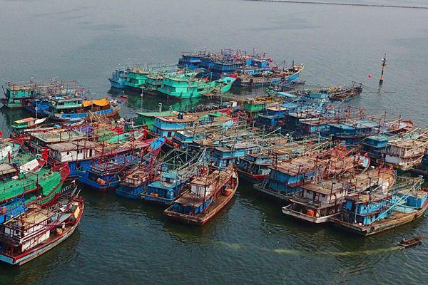 Kapal nelayan di pelabuhan Muara Angke, Jakarta Utara. - Bloomberg/Dimas Ardian