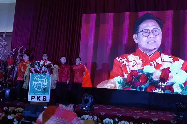 Ketua Umum PKB, Muhaimin Iskandar memberikan sambutan pada acara Refleksi Imlek 2570/2019 di Tangerang Selatan. (John Andi Oktaveri - Bisnis).
