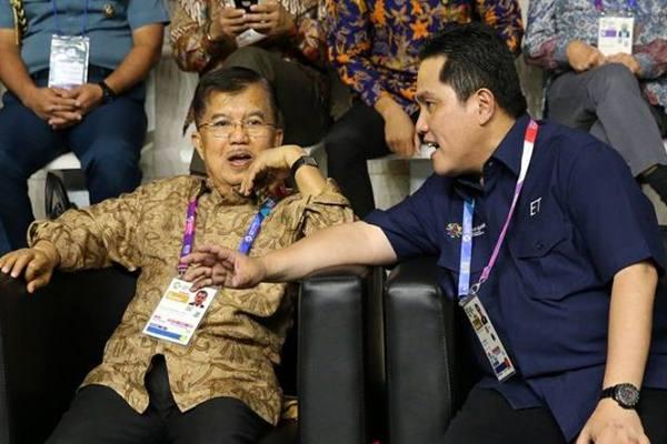 Erick Thohir tanggapi pernyataan JK soal Ketua PSSI Wakil Presiden Republik Indonesia Jusuf Kalla dan Erick Thohir. - Antara