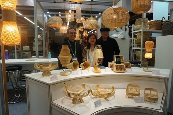 Sebagian produk Indonesia yang dipamerkan dalam ajang Ambiente 2019 yang digelar mulai Jumat (8/2/2019) hingga Selasa (12/2/2019). (Maria Y. Benyamin - Bisnis).