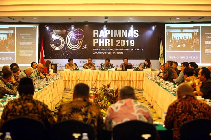 Suasana Rapat Pimpinan Nasional PHRI 2019 di Jakarta, Sabtu (9/2/2019). Acara yang digelar hingga Senin (11/2) tersebut sekaligus untuk memperingati 50 tahun PHRI. - Bisnis/Abdullah Azzam