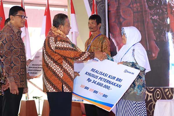 Direktur Mikro dan Kecil BRI Priyastomo (kiri) dan Menteri Kooordinator Perekonomian Darmin Nasution (tengah) dalam acara peluncuran KUR Khusus Peternakan Rakyat/BRI