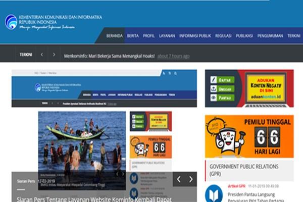 Situs web Kementerian Komunikasi dan Informatika