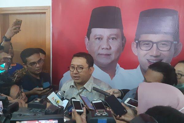 Fadli Zon,Wakil Ketua Umum Partai Gerindra saat diwawancarai awak media di Jakarta, Selasa (12/2 - 2019).