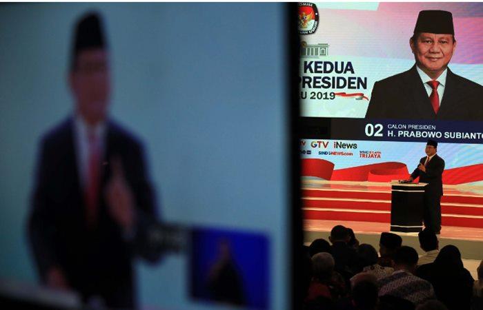 DEBAT CAPRES 2019: Capres nomor urut 02 Prabowo Subianto mengikuti debat capres 2019 putaran kedua di Hotel Sultan, Jakarta, Minggu (17/2). Debat kedua yang hanya diikuti capres tanpa wapresnya itu mengangkat tema energi dan pangan, sumber daya alam dan lingkungan hidup, serta infrastruktur. Bisnis - Nurul Hidayat
