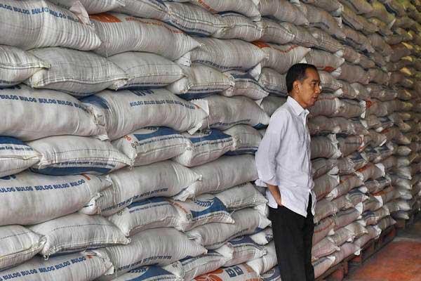 Presiden Joko Widodo mengecek stok beras di Kompleks Pergudangan Bulog, Jakarta, Kamis (10/1/2019). - ANTARA/Puspa Perwitasari