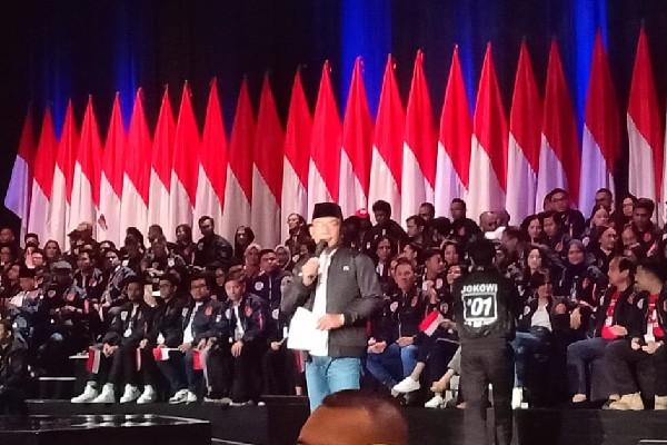 Ridwan Kamil menyampaikan orasi pembuka dalam acara Konvensi Rakyat TKN Jokowi-Ma'ruf - Bisnis/Aziz R