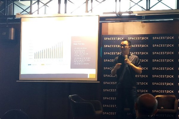 CEO SpaceStock Leonard Hartono dalam konferensi pers di Jakarta, Kamis (29/2/2019). - Mutiara Nabila