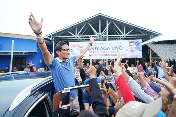 Cawapres Sandiaga Uno saat disambut ratusan pelaku UMKM Pemula di Tegal, Jawa Tengah, Kamis (28/2/2019) - ist