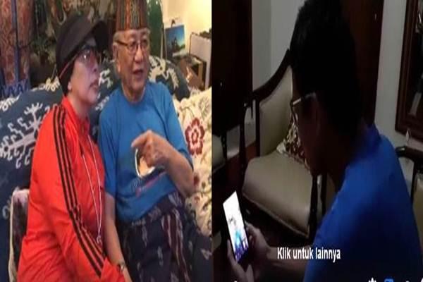 Cawapres Sandiaga Uno (kanan) saat video call dengan sang ayah tercinta, Henk Uno, yang hari ini berulangtahun ke-83 - Twitter