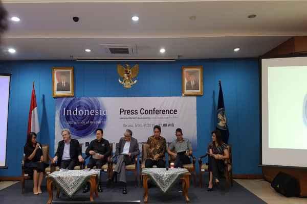 Konferensi pers Indonesia sebagai Market Focus Country di London Book Fair 2019, Kantor Kementerian Pendidikan dan Kebudayaan, Jakarta, Selasa (5/3/2019) - Bisnis/Denis Riantiza M