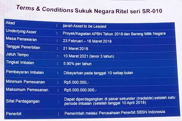 Sukuk Negara Ritel seri SR-010 mulai diperdagangkan Jumat (23/2/2018). Bisnis - Emanuel B. Caesario
