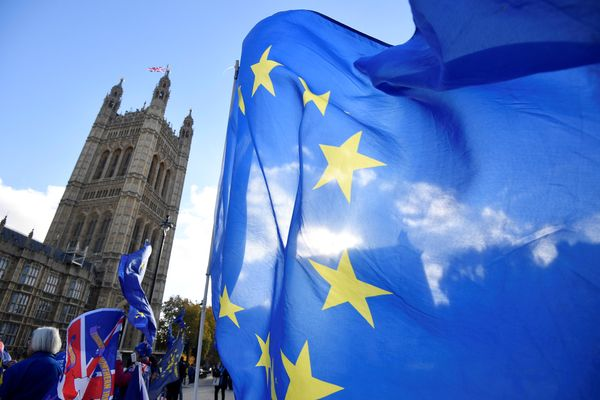 Pengunjuk rasa anti Brexit melambaikan bendera Uni Eropa di luar Gedung Parlemen Inggris di London, Inggris, Selasa (13/11). - Reuters/Toby Melville