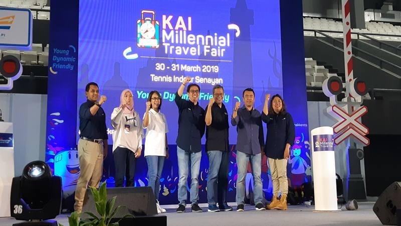 Jajaran Direksi PT KAI resmi membuka KAI Millennial Travel Fair yang diselenggarakan di Tennis Indoor Senayan, 30-31 Maret 2019. JIBI/Bisnis -  Finna U. Ulfah