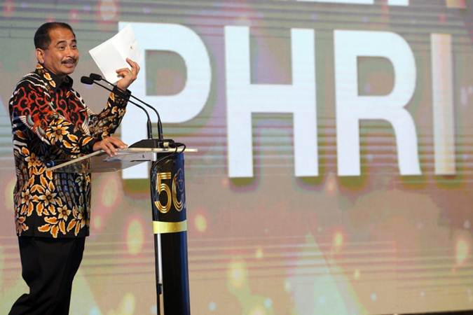 Menteri Pariwisata Arief Yahya menyampaikan sambutan pada pembukaan Rapat Kerja Nasional IV PHRI, di Jakarta, Senin (11/2/2019). - Bisnis/Dedi Gunawan
