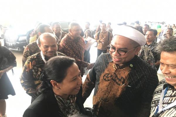 Menteri Rini menghadiri Rapat Koordinasi BUMN 2019 di Balai Sidang Jakarta Convention Center, Jakarta, Kamis (28/2/2019)./Bisnis - M. Nurhadi Pratomo