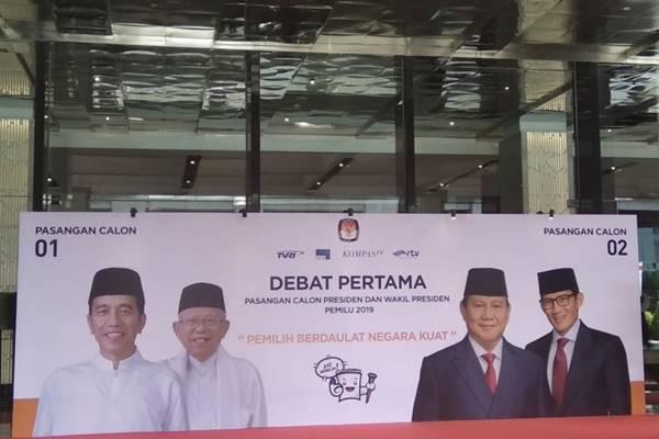 Banner Debat Capres di Hotel Bidakara, Jakarta. - Antara