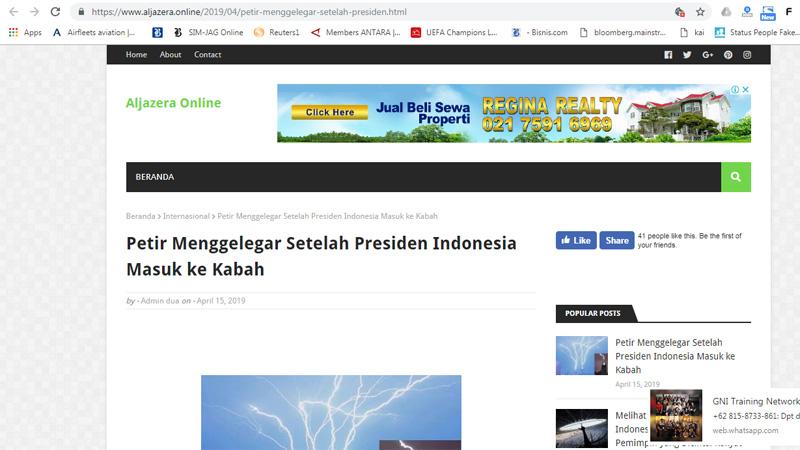 Cuplikan judul soal petir menggelegar setelah presiden Indonesia masuk Kabah - Ilustrasi