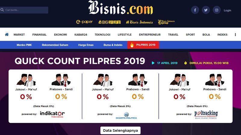 Bisnis.com bersama tiga lembaga survei yang terdaftar di KPU yaitu Indikator Politik Indonesia, Charta Politika, dan Poltracking Indonesia, ikut mempublikasikan hasil hitung cepat (quick count) Pilpres 2019 dan Pileg 2019. Bisnis - RNI