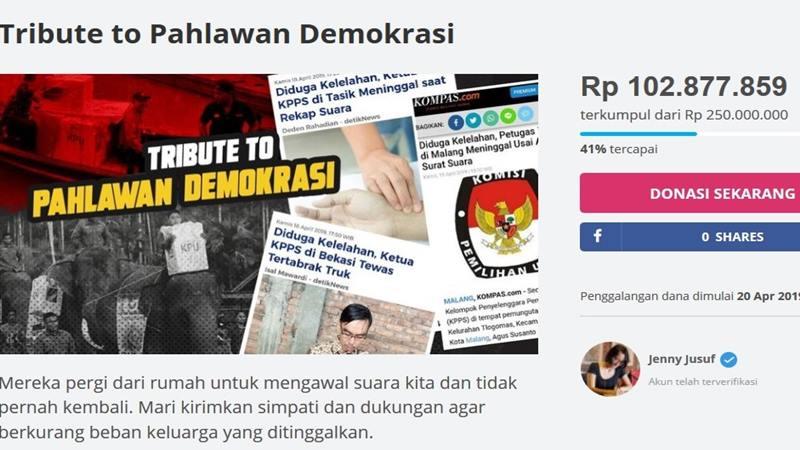 Masyarakat menggalang dana lewat kitabisa.com untuk petugas KPPS yang meninggal saat Pemilu 2019. JIBI/Bisnis - Nancy Junita
